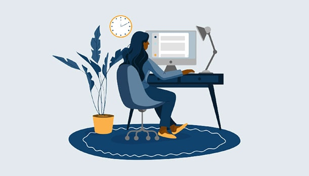 Illustration of a person sitting at their desk taking a quiz