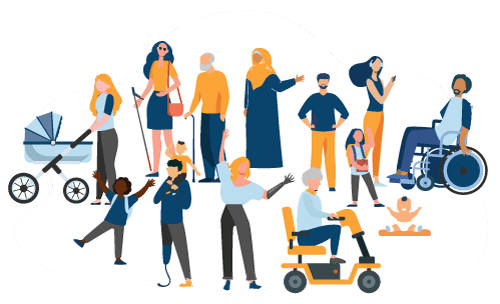 Illustration of group of people. Ages ranges from babies to seniors. Some people are in wheelchair or scooter, pushing a baby stroller, have a prostetic limb or wear a hijab. All designed in a blue and orange colour pallet.