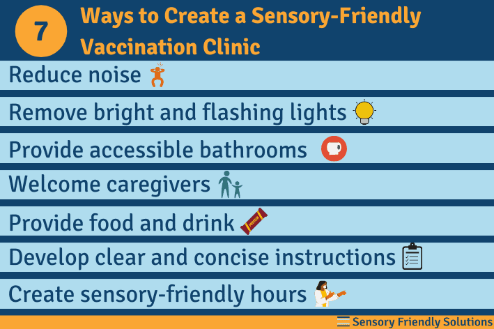Infographic describing 7 ways to create a sensory-friendly vaccination clinic.