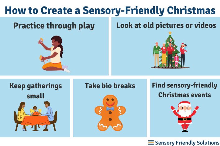 Infographic highlighting 5 different ways to create a sensory-friendly Christmas.