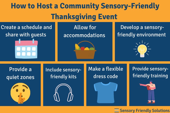 Infographic highlighting 7 ways to host a sensory-friendly Thanksgiving in your community.