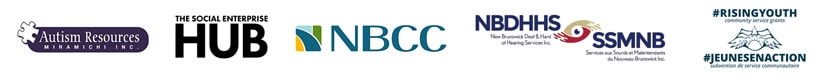 Logos of Autism Resources Miramichi, The Social Enterprise Hub, NBCC, NBDHHS and RisingYouth